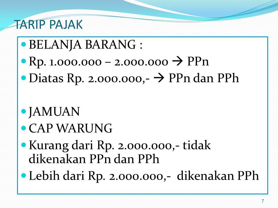 7 TARIP PAJAK BELANJA BARANG : Rp.1.000.000 – 2.000.000  PPn Diatas Rp.