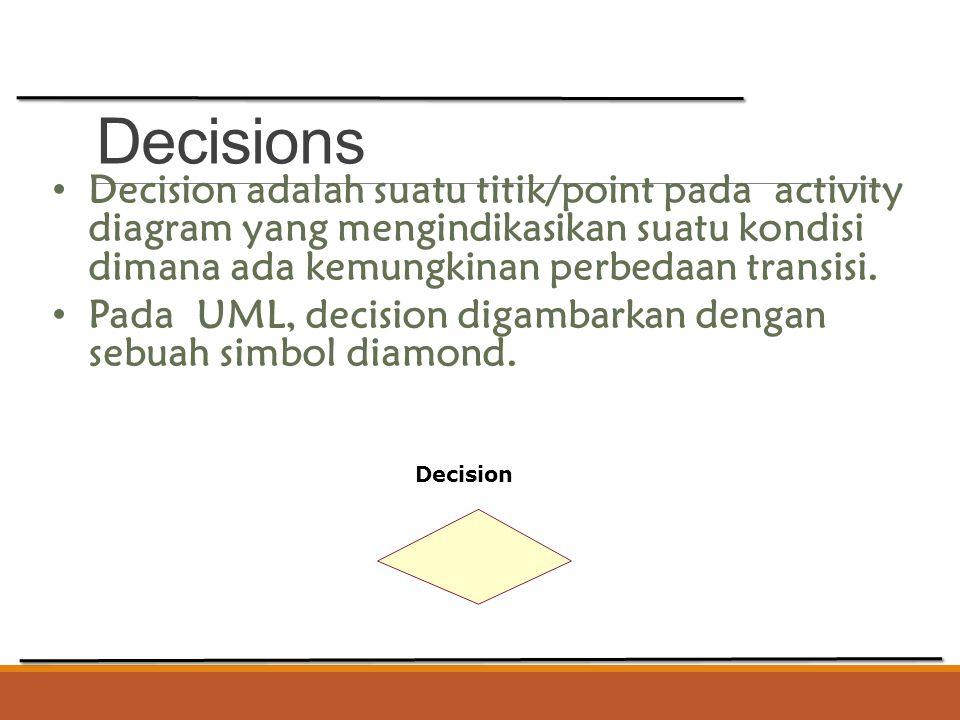 Decisions Decision adalah suatu titik/point pada activity diagram yang mengindikasikan suatu kondisi dimana ada kemungkinan perbedaan transisi. Pada U