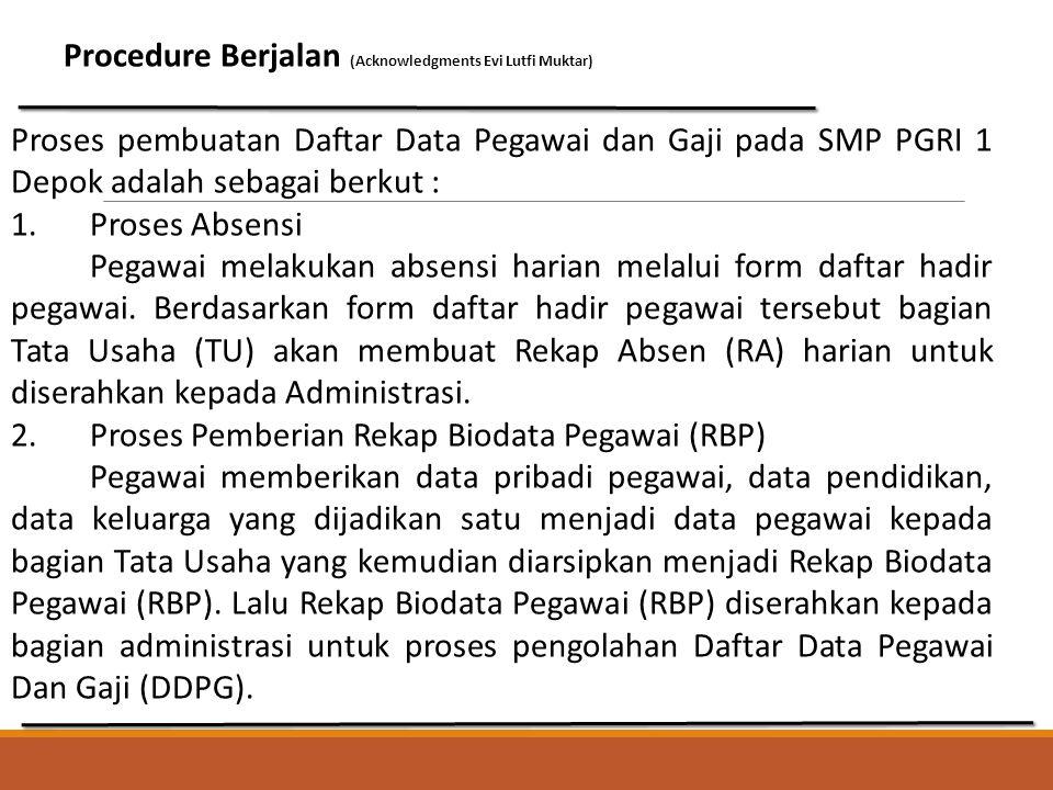 Procedure Berjalan (Acknowledgments Evi Lutfi Muktar) Proses pembuatan Daftar Data Pegawai dan Gaji pada SMP PGRI 1 Depok adalah sebagai berkut : 1. P