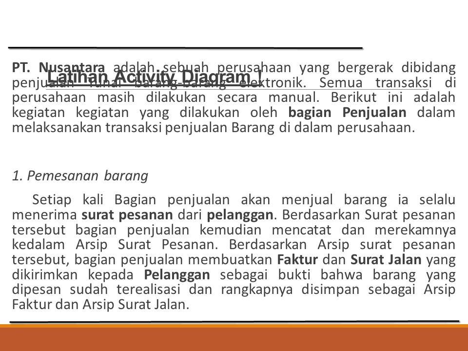 Latihan Activity Diagram ! PT. Nusantara adalah sebuah perusahaan yang bergerak dibidang penjualan Tunai barang-barang elektronik. Semua transaksi di