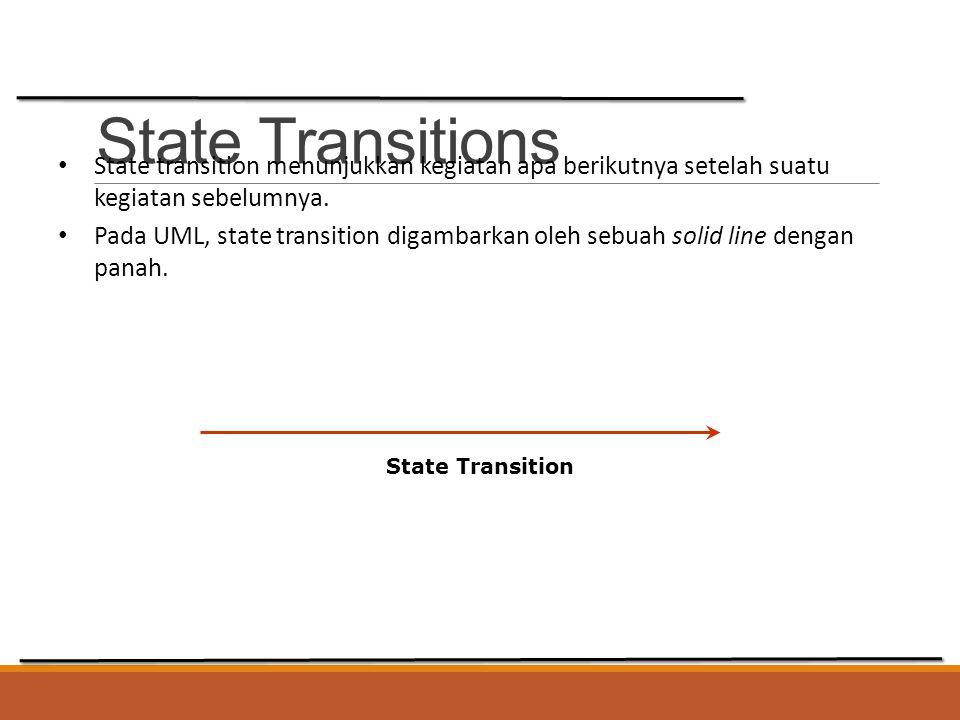 State Transitions State transition menunjukkan kegiatan apa berikutnya setelah suatu kegiatan sebelumnya. Pada UML, state transition digambarkan oleh