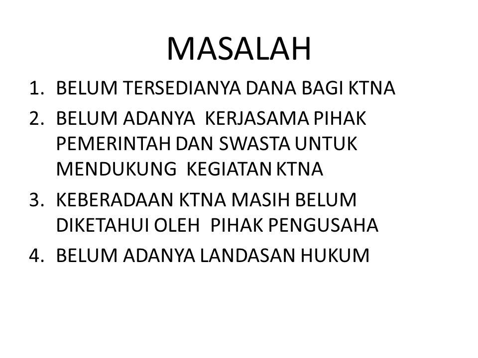 MASALAH 1.BELUM TERSEDIANYA DANA BAGI KTNA 2.BELUM ADANYA KERJASAMA PIHAK PEMERINTAH DAN SWASTA UNTUK MENDUKUNG KEGIATAN KTNA 3.KEBERADAAN KTNA MASIH