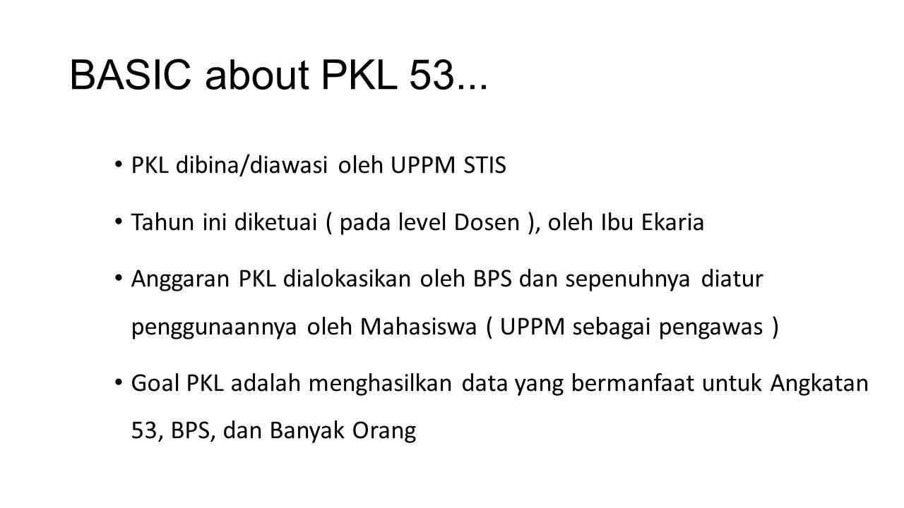 BASIC about PKL 53... PKL dibina/diawasi oleh UPPM STIS Tahun ini diketuai ( pada level Dosen ), oleh Ibu Ekaria Anggaran PKL dialokasikan oleh BPS da