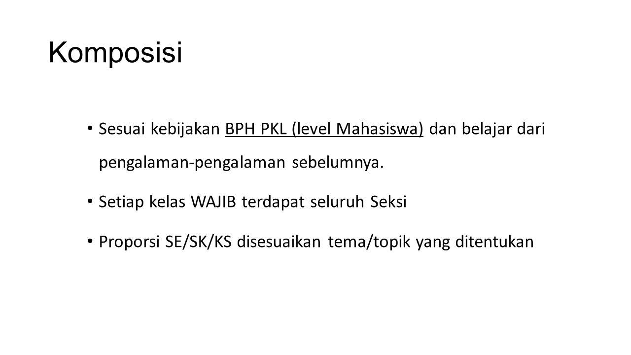 Komposisi Sesuai kebijakan BPH PKL (level Mahasiswa) dan belajar dari pengalaman-pengalaman sebelumnya. Setiap kelas WAJIB terdapat seluruh Seksi Prop