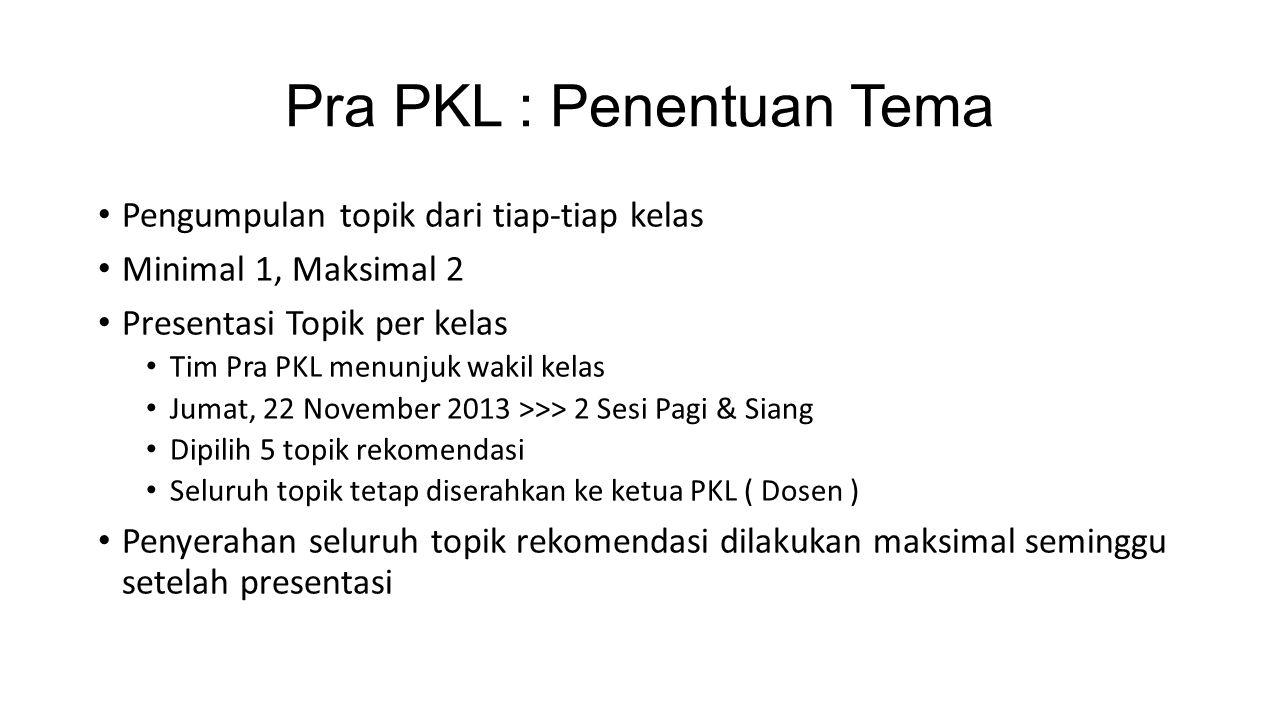 Pra PKL : Penentuan Tema Pengumpulan topik dari tiap-tiap kelas Minimal 1, Maksimal 2 Presentasi Topik per kelas Tim Pra PKL menunjuk wakil kelas Juma