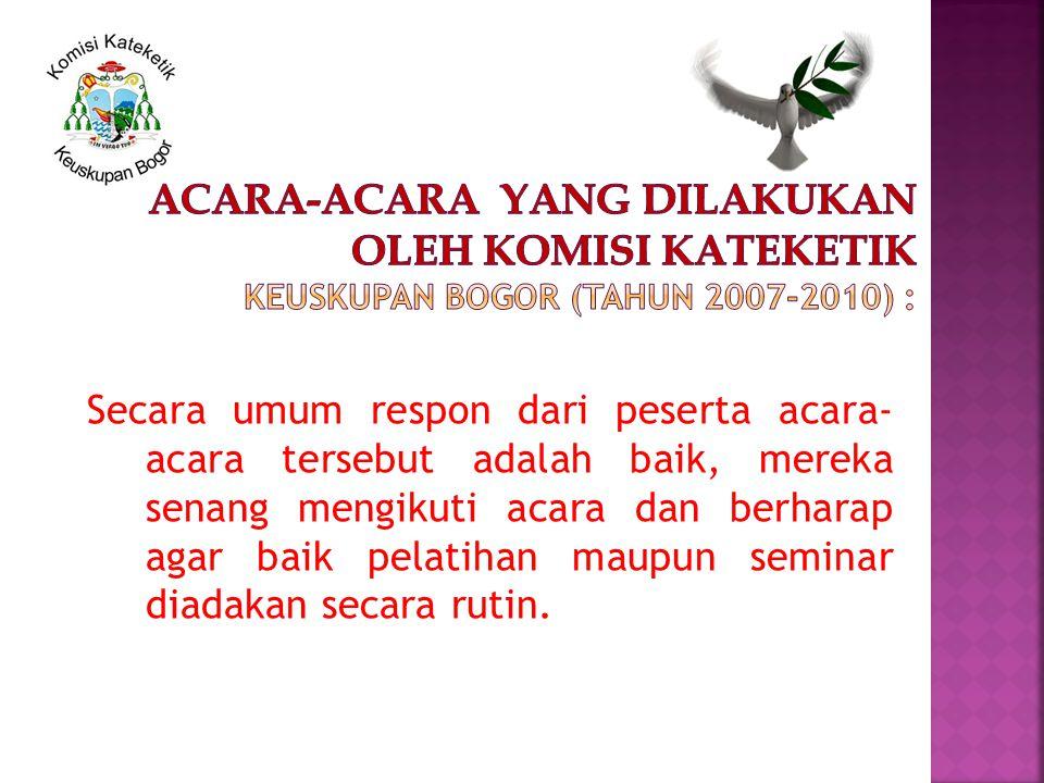 Bagi Umat Keuskupan Bogor Acara-acara yang pernah dilakukan oleh Komisi Kateketik Keuskupan Bogor (tahun 2007-2010) : AcaraWaktuTempat Seminar