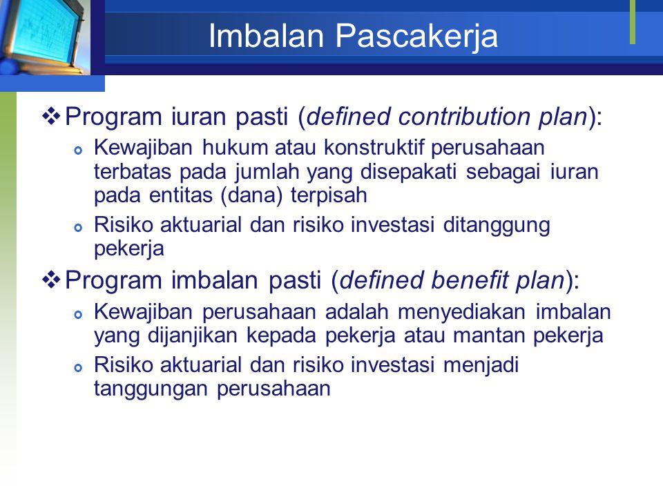 Imbalan Pascakerja  Program iuran pasti (defined contribution plan):  Kewajiban hukum atau konstruktif perusahaan terbatas pada jumlah yang disepaka