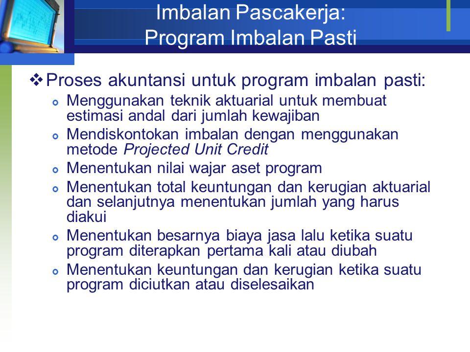 Imbalan Pascakerja: Program Imbalan Pasti  Proses akuntansi untuk program imbalan pasti:  Menggunakan teknik aktuarial untuk membuat estimasi andal