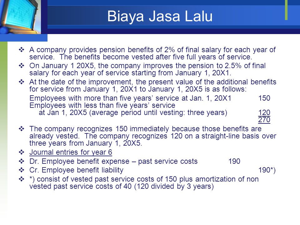 Biaya Jasa Lalu  A company provides pension benefits of 2% of final salary for each year of service.