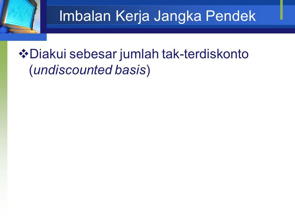 Imbalan Kerja Jangka Pendek  Diakui sebesar jumlah tak-terdiskonto (undiscounted basis)