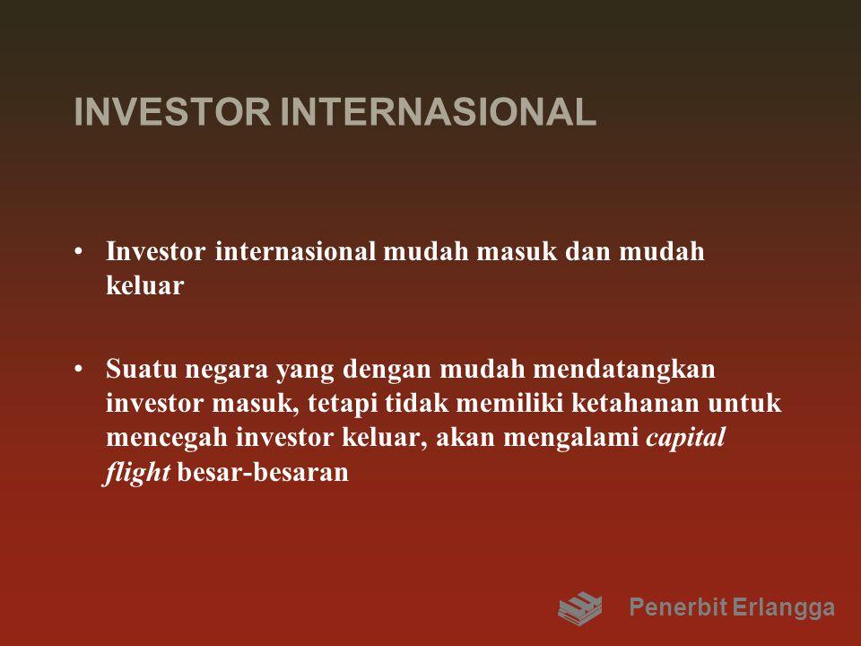 INVESTOR INTERNASIONAL Investor internasional mudah masuk dan mudah keluar Suatu negara yang dengan mudah mendatangkan investor masuk, tetapi tidak me
