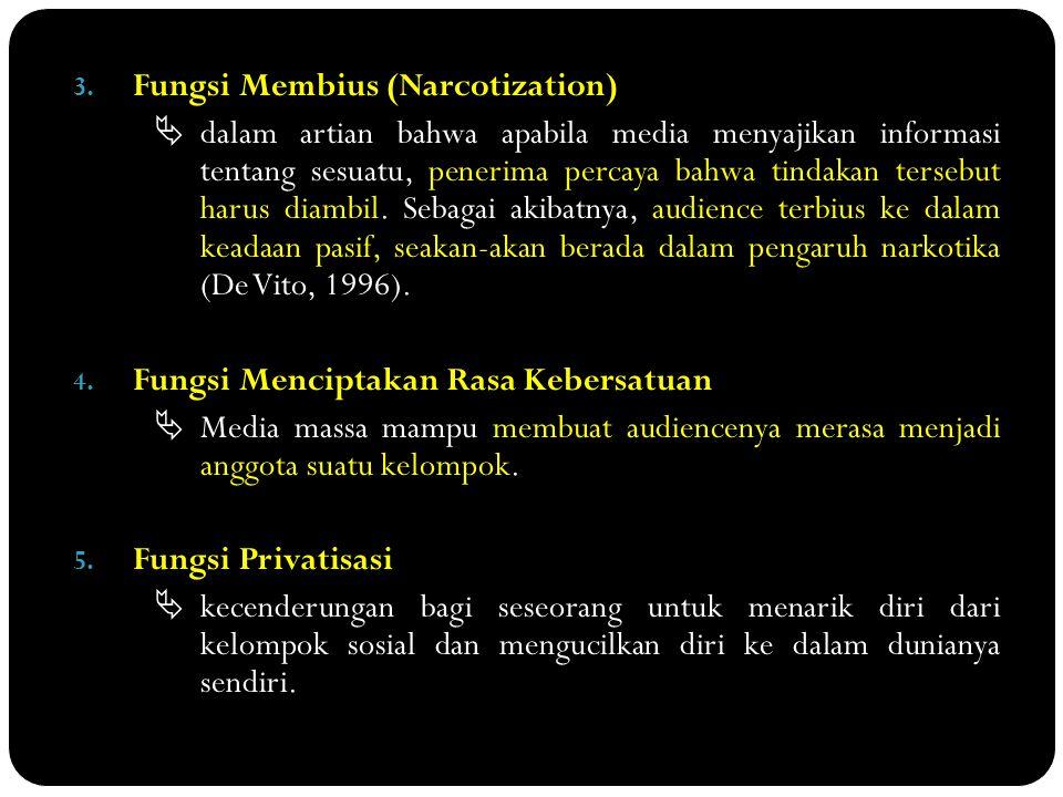 3. Fungsi Membius (Narcotization)  dalam artian bahwa apabila media menyajikan informasi tentang sesuatu, penerima percaya bahwa tindakan tersebut ha
