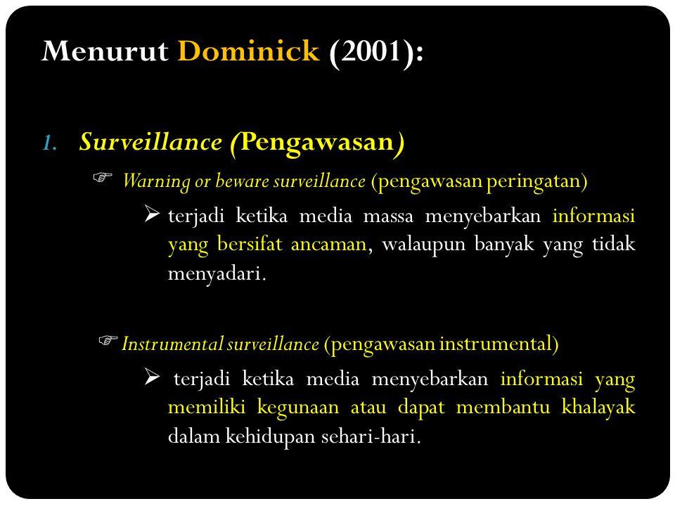 Menurut Dominick (2001): 1. Surveillance (Pengawasan)  Warning or beware surveillance (pengawasan peringatan)  terjadi ketika media massa menyebarka