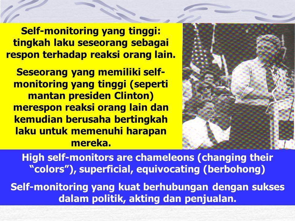 Self-monitoring yang tinggi: tingkah laku seseorang sebagai respon terhadap reaksi orang lain. Seseorang yang memiliki self- monitoring yang tinggi (s