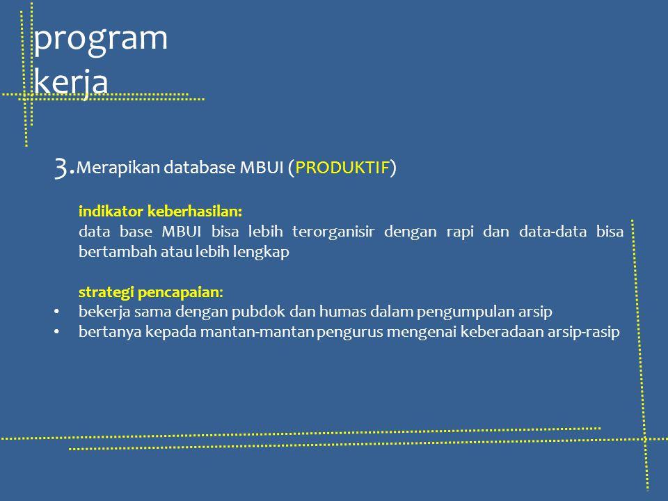 3. Merapikan database MBUI (PRODUKTIF) indikator keberhasilan: data base MBUI bisa lebih terorganisir dengan rapi dan data-data bisa bertambah atau le