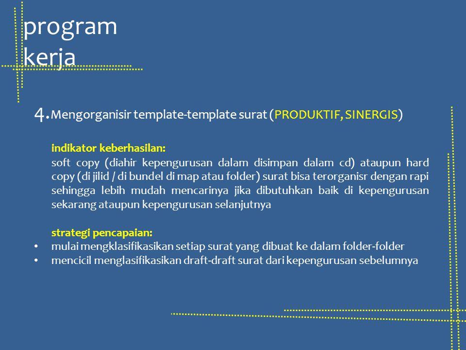 4. Mengorganisir template-template surat (PRODUKTIF, SINERGIS) indikator keberhasilan: soft copy (diahir kepengurusan dalam disimpan dalam cd) ataupun