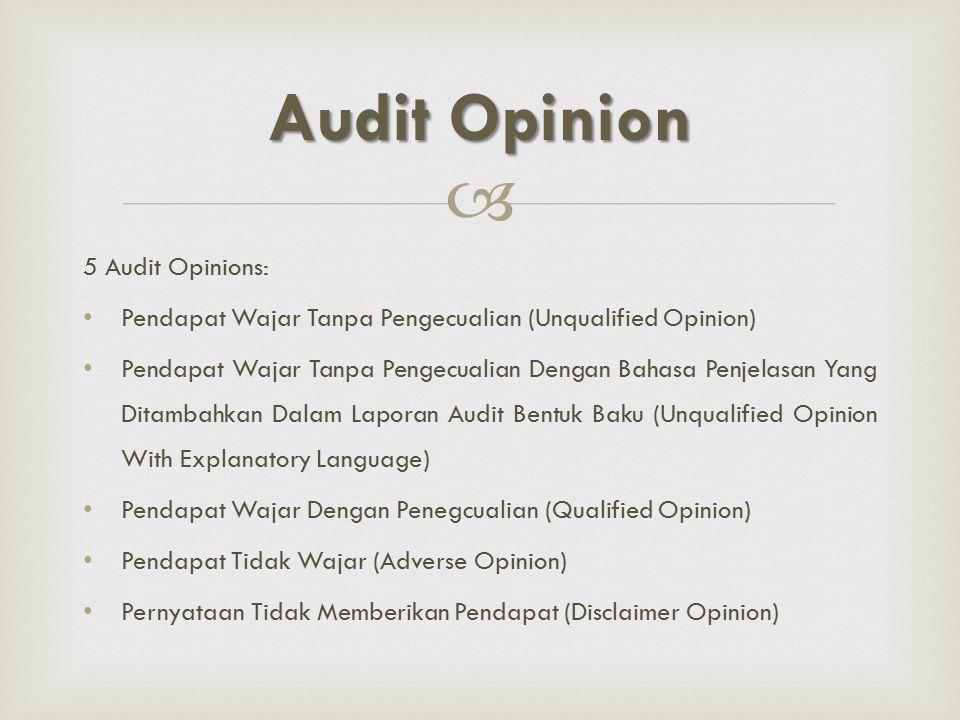  5 Audit Opinions: Pendapat Wajar Tanpa Pengecualian (Unqualified Opinion) Pendapat Wajar Tanpa Pengecualian Dengan Bahasa Penjelasan Yang Ditambahka