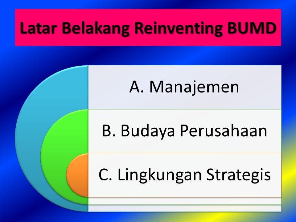 A. Permasalahan Manajemen BUMD 1. Paradigma2. Struktur Organisasi3. Nilai Manajemen4. Impact