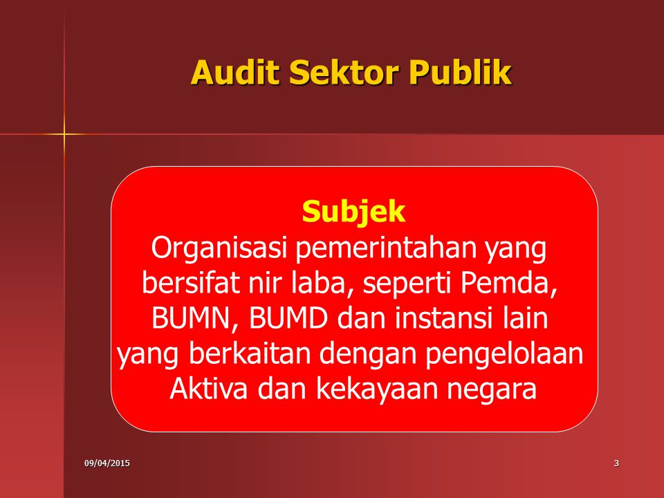09/04/201514 Ekonomi Efisiensi Efektivitas 3 E Audit Manajemen Audit Program Audit Kinerja/ Value for Money Audit Karateristik Audit Kinerja