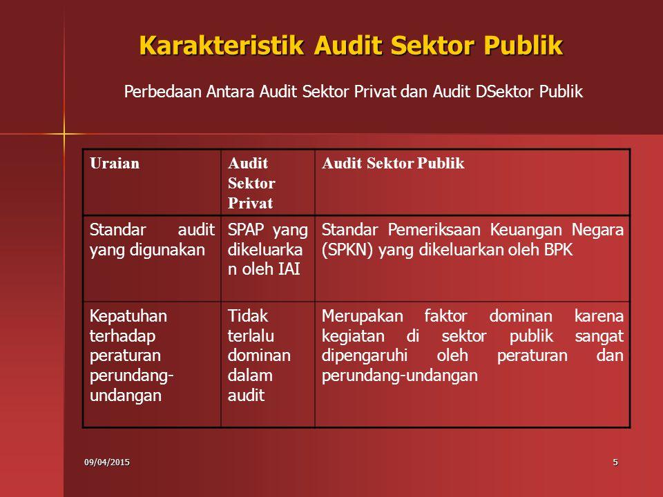 09/04/20156 Tujuan Audit Sektor Publik 1.Organisasi sektor publik mendapat amanah dan kepercayaan 2.dituntut untuk mengelola sumber daya tersebut secara akuntabel dan transparan 3.Untuk meningkatkan akuntabilitas dan transparansi pengelolaan sumber daya diperlukan audit pada sektor publik Informasi yang diperoleh dari hasil audit sektor publik dapat digunakan oleh pihak internal (entitas yang diaudit) untuk melaksanakan perbaikan internal.