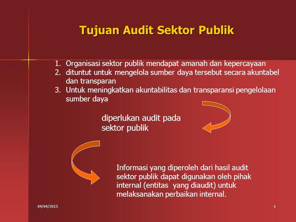 09/04/20157 7 Tujuan Audit Sektor Publik Hasil audit juga diperlukan oleh pihak eksternal (di luar entitas yang diaudit) untuk mengevaluasi apakah yang diaudit) untuk mengevaluasi apakah Sektor publik mengelola sumber daya publik dan menggunakan publik dan menggunakan kewenangannya secara tepat dan sesuai dengan ketentuan dan peraturan sesuai dengan ketentuan dan peraturan Program yang dilaksanakan mencapai tujuan dan hasil yang diinginkan, dan Pelayanan publik diselenggarakan secara efektif, efisien, ekonomis, etis, dan berkeadilan.