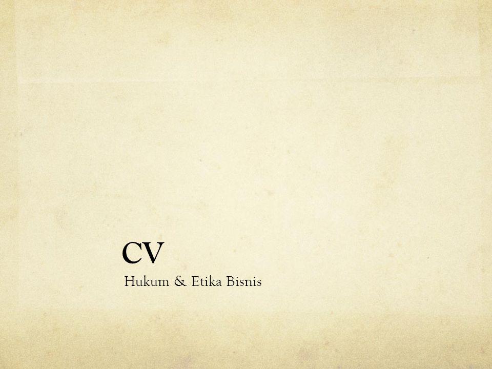 CV Hukum & Etika Bisnis
