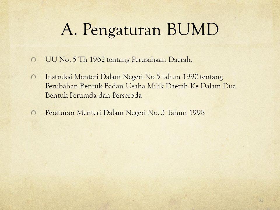 A. Pengaturan BUMD UU No. 5 Th 1962 tentang Perusahaan Daerah. Instruksi Menteri Dalam Negeri No 5 tahun 1990 tentang Perubahan Bentuk Badan Usaha Mil