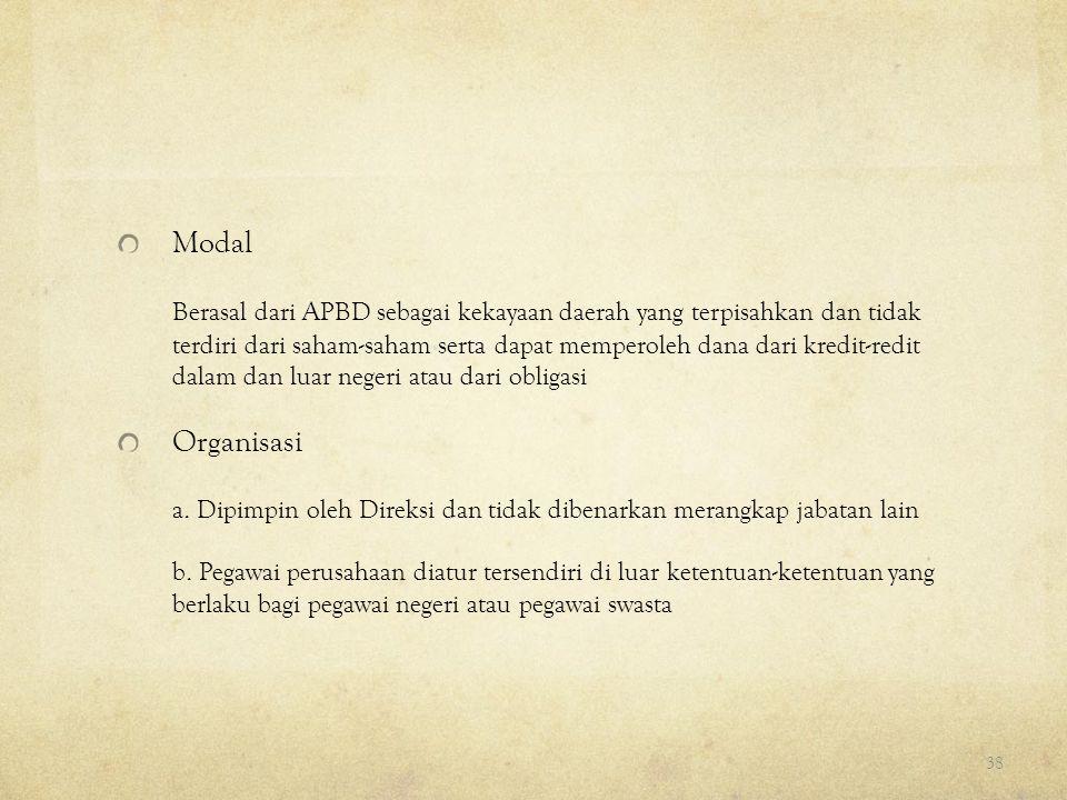 Modal Berasal dari APBD sebagai kekayaan daerah yang terpisahkan dan tidak terdiri dari saham-saham serta dapat memperoleh dana dari kredit-redit dala