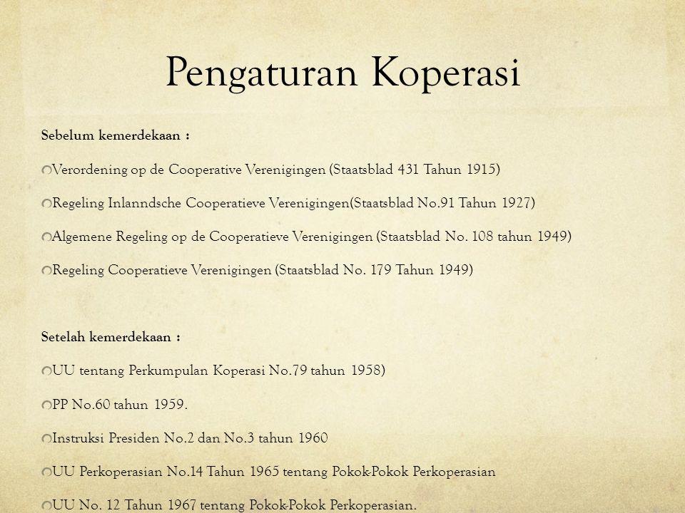 Pengaturan Koperasi Sebelum kemerdekaan : Verordening op de Cooperative Verenigingen (Staatsblad 431 Tahun 1915) Regeling Inlanndsche Cooperatieve Ver