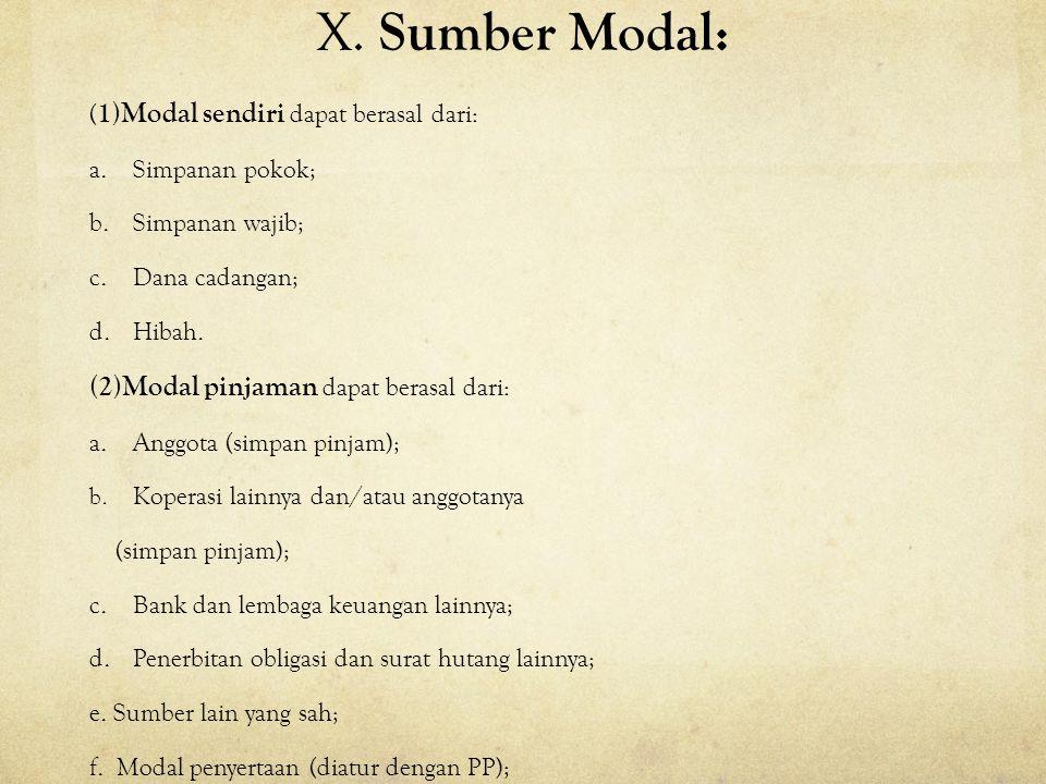X. Sumber Modal: ( 1)Modal sendiri dapat berasal dari: a.Simpanan pokok; b.Simpanan wajib; c.Dana cadangan; d.Hibah. (2)Modal pinjaman dapat berasal d