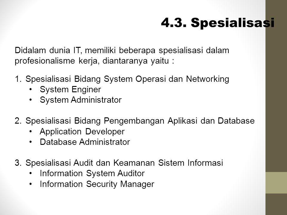 4.3. Spesialisasi Didalam dunia IT, memiliki beberapa spesialisasi dalam profesionalisme kerja, diantaranya yaitu : 1.Spesialisasi Bidang System Opera