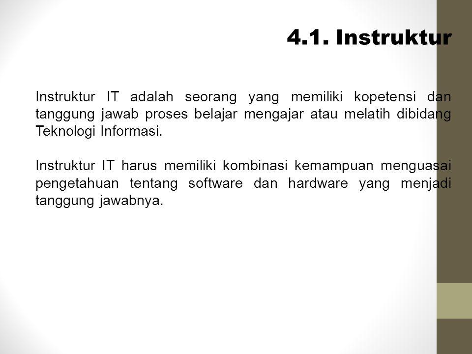 4.1. Instruktur Instruktur IT adalah seorang yang memiliki kopetensi dan tanggung jawab proses belajar mengajar atau melatih dibidang Teknologi Inform