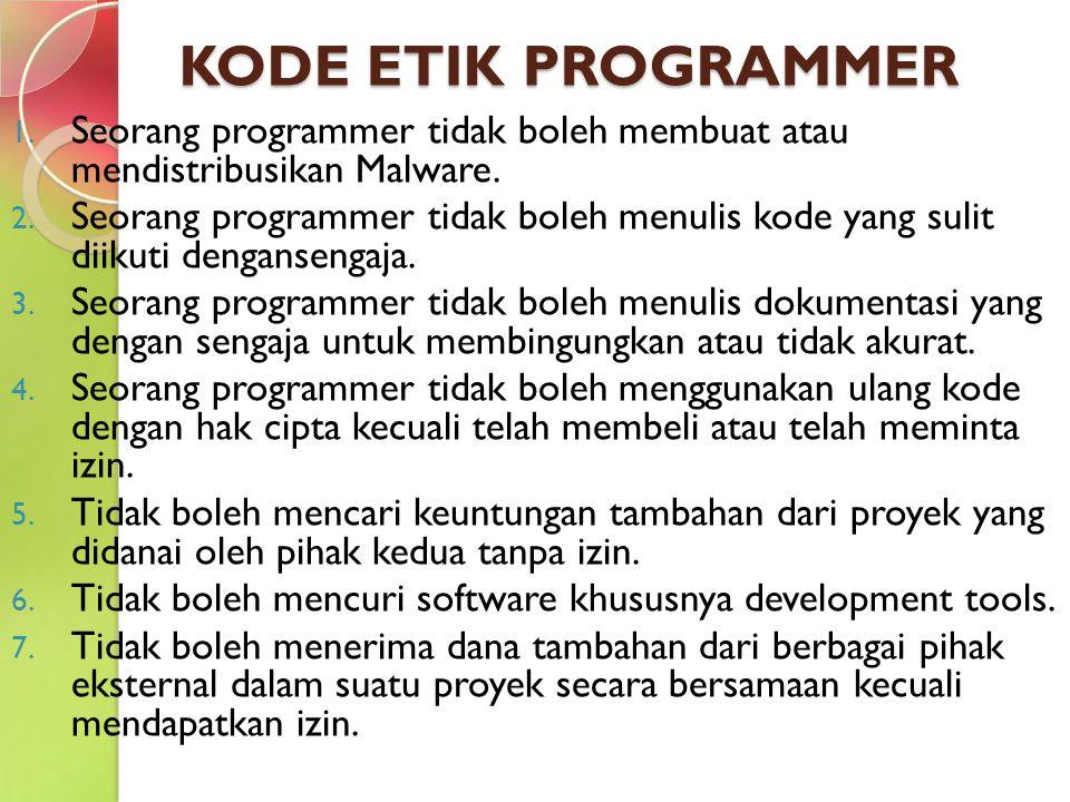 KODE ETIK PROGRAMMER 1. Seorang programmer tidak boleh membuat atau mendistribusikan Malware. 2. Seorang programmer tidak boleh menulis kode yang suli