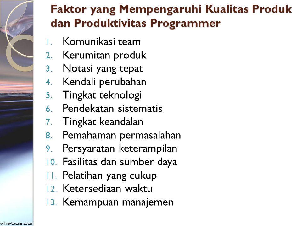 Faktor yang Mempengaruhi Kualitas Produk dan Produktivitas Programmer 1. Komunikasi team 2. Kerumitan produk 3. Notasi yang tepat 4. Kendali perubahan