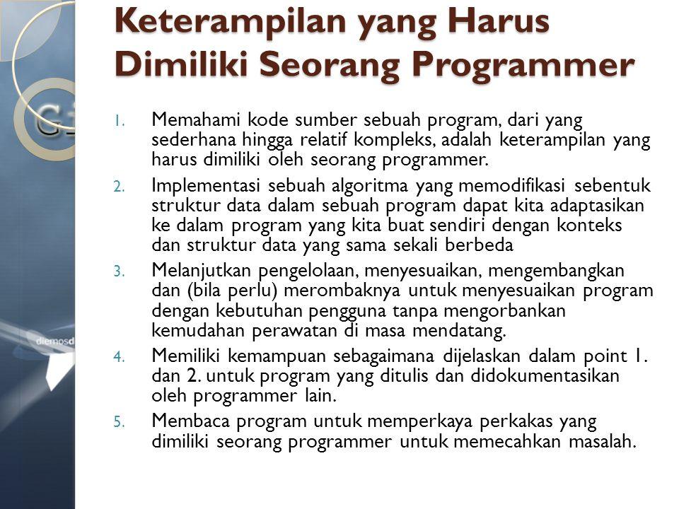 Keterampilan yang Harus Dimiliki Seorang Programmer 1. Memahami kode sumber sebuah program, dari yang sederhana hingga relatif kompleks, adalah ketera