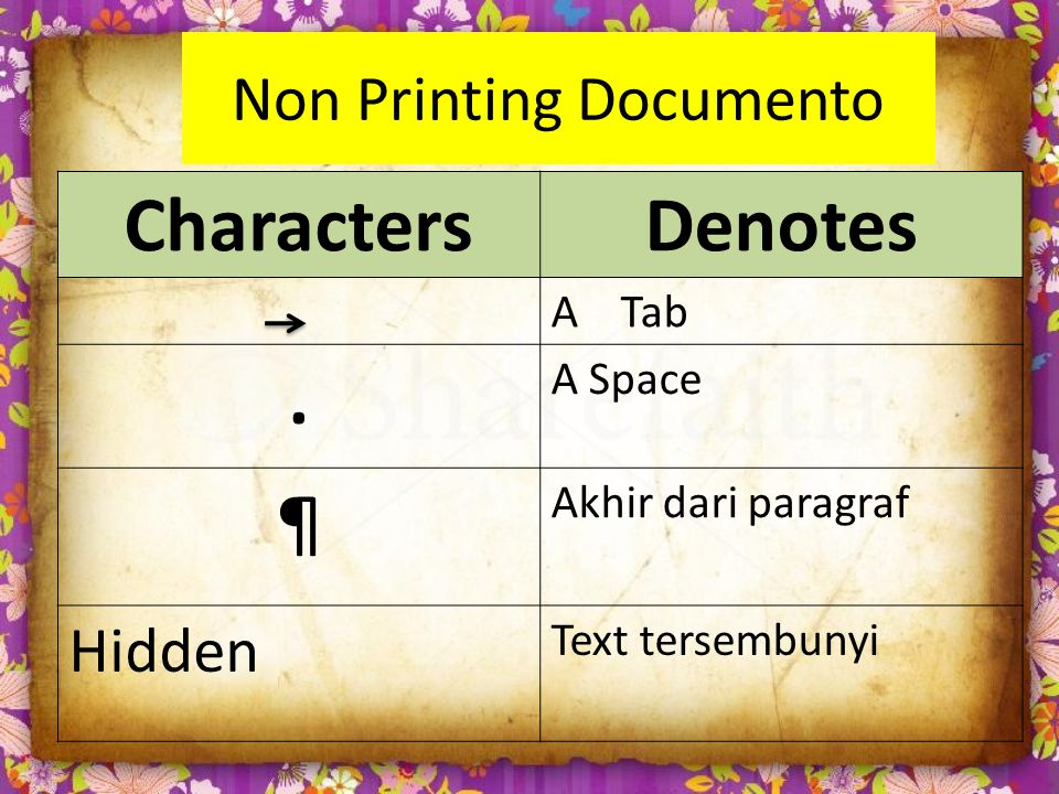 Non Printing Documento CharactersDenotes A Tab.