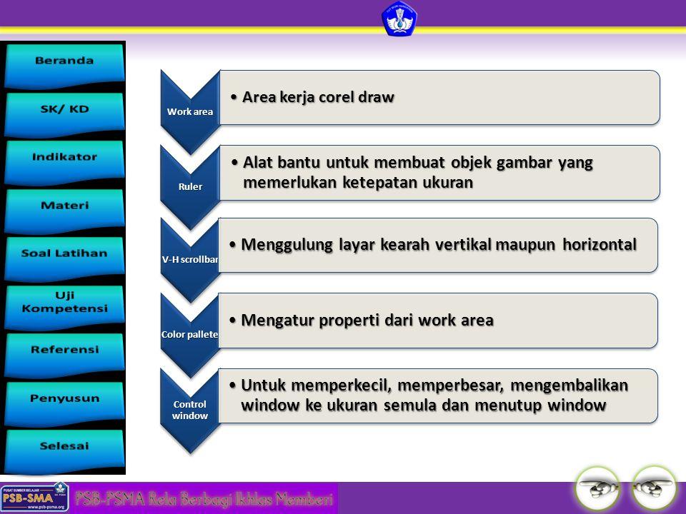 Work area Area kerja corel drawArea kerja corel draw Ruler Alat bantu untuk membuat objek gambar yang memerlukan ketepatan ukuranAlat bantu untuk memb