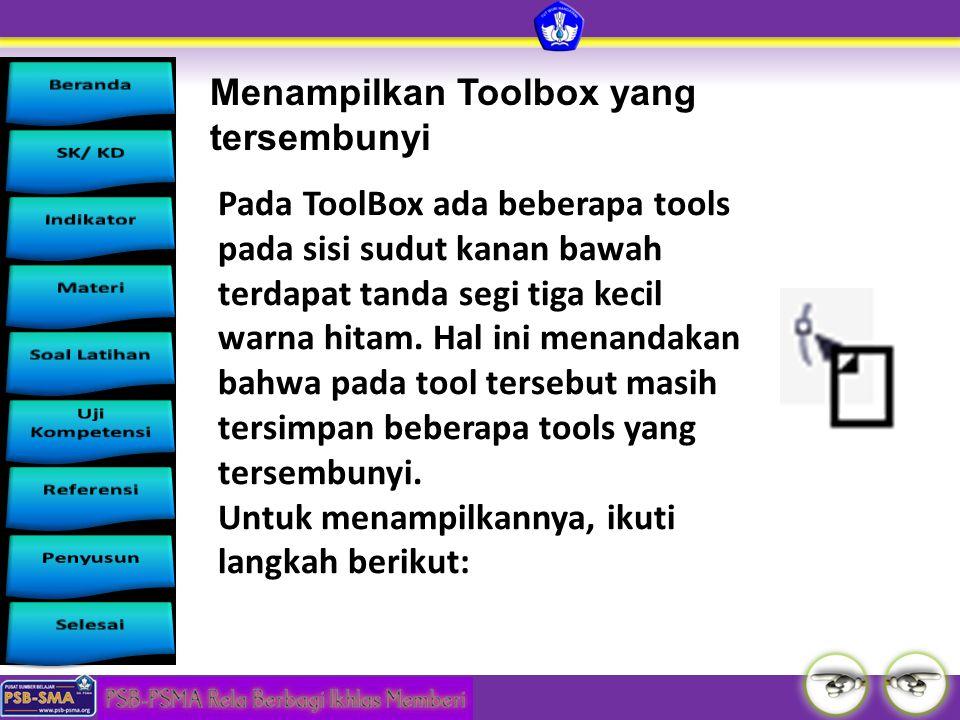 Menampilkan Toolbox yang tersembunyi Pada ToolBox ada beberapa tools pada sisi sudut kanan bawah terdapat tanda segi tiga kecil warna hitam. Hal ini m