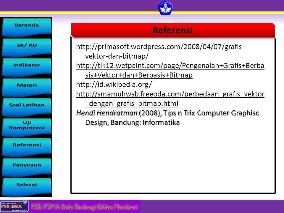 Referensi http://primasoft.wordpress.com/2008/04/07/grafis- vektor-dan-bitmap/ http://tik12.wetpaint.com/page/Pengenalan+Grafis+Berba sis+Vektor+dan+B