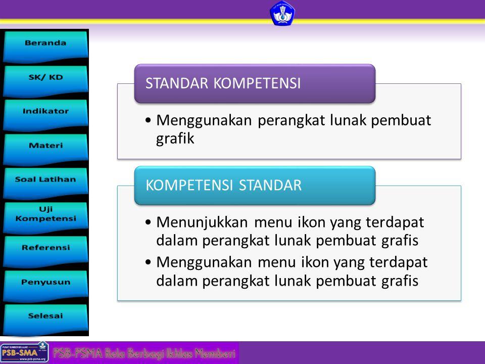 Menggunakan perangkat lunak pembuat grafik STANDAR KOMPETENSI Menunjukkan menu ikon yang terdapat dalam perangkat lunak pembuat grafis Menggunakan men