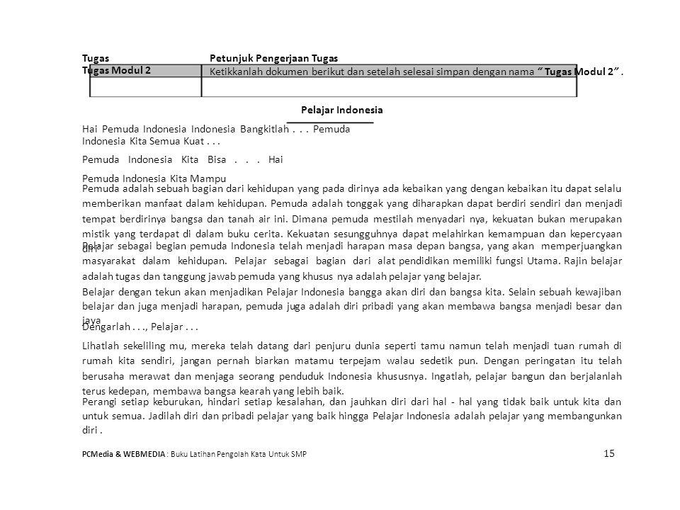 """TugasPetunjuk Pengerjaan Tugas Tugas Modul 2 Ketikkanlah dokumen berikut dan setelah selesai simpan dengan nama """" Tugas Modul 2"""". Pelajar Indonesia Ha"""