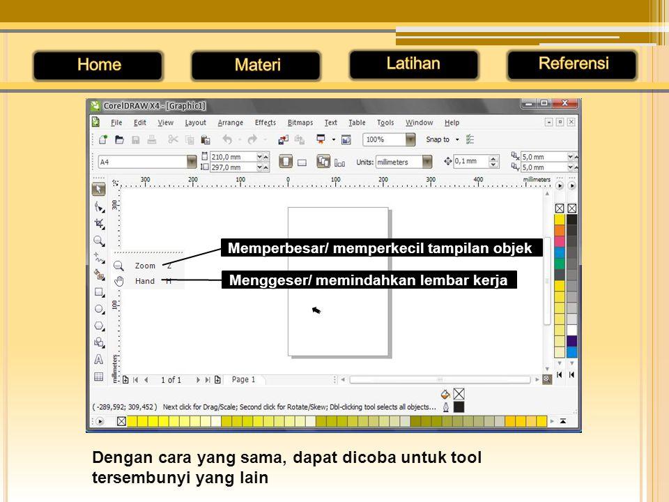 Dengan cara yang sama, dapat dicoba untuk tool tersembunyi yang lain Memperbesar/ memperkecil tampilan objek Menggeser/ memindahkan lembar kerja