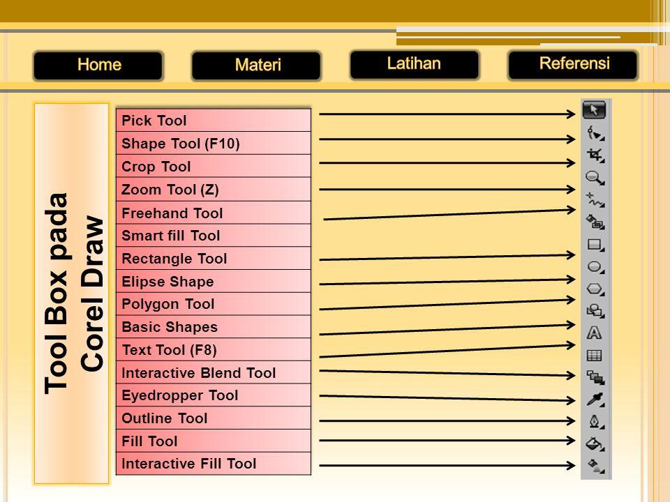 Pick Tool, untuk memilih, mengubah ukuran, menggeser objek Shape Tool, untuk memodifikasi dan editing objek Croop Tool, untuk memotong/ mengubah ukuran objek Zoom Tool, untuk memperbesar/ memperkecil tampilan objek Freehand Tool, untuk pembuatan objek berbentuk garis Rectangle Tool, untuk pembuatan objek segi empat Ellipse Tool, untuk pembuatan objek ellips dan lingkaran
