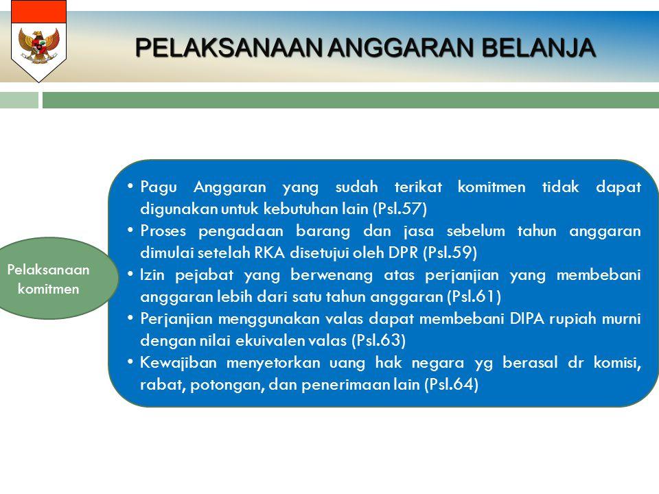 PELAKSANAAN ANGGARAN BELANJA PELAKSANAAN ANGGARAN BELANJA Pagu Anggaran yang sudah terikat komitmen tidak dapat digunakan untuk kebutuhan lain (Psl.57