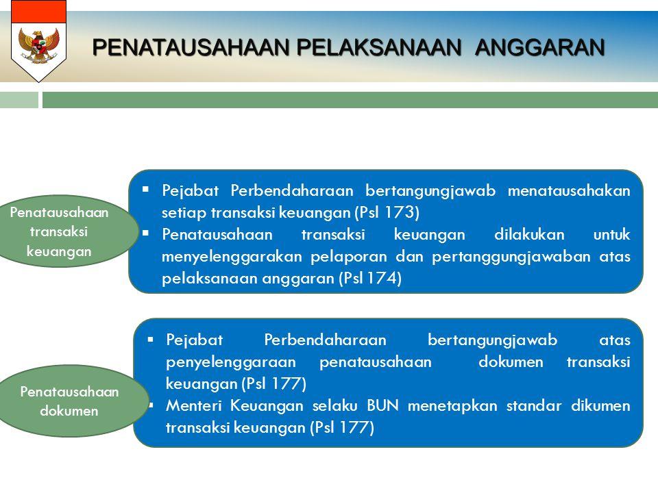 PENATAUSAHAAN PELAKSANAAN ANGGARAN  Pejabat Perbendaharaan bertangungjawab menatausahakan setiap transaksi keuangan (Psl 173)  Penatausahaan transak