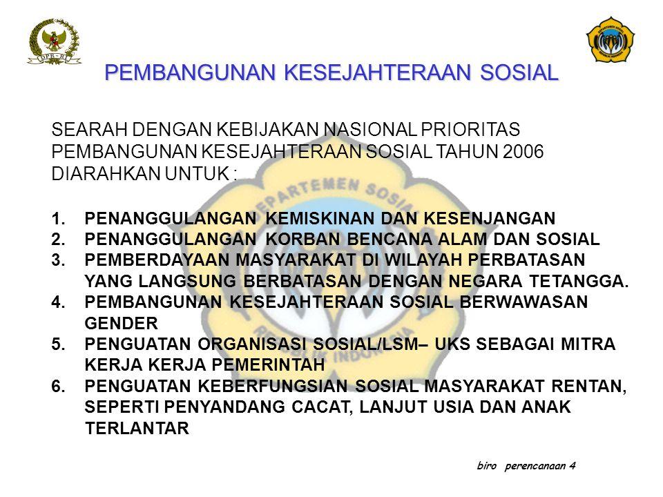 biro perencanaan 4 SEARAH DENGAN KEBIJAKAN NASIONAL PRIORITAS PEMBANGUNAN KESEJAHTERAAN SOSIAL TAHUN 2006 DIARAHKAN UNTUK : 1.PENANGGULANGAN KEMISKINA