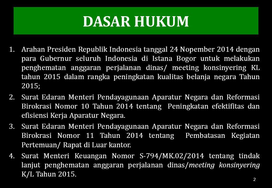DASAR HUKUM 1.Arahan Presiden Republik Indonesia tanggal 24 Nopember 2014 dengan para Gubernur seluruh Indonesia di Istana Bogor untuk melakukan pengh