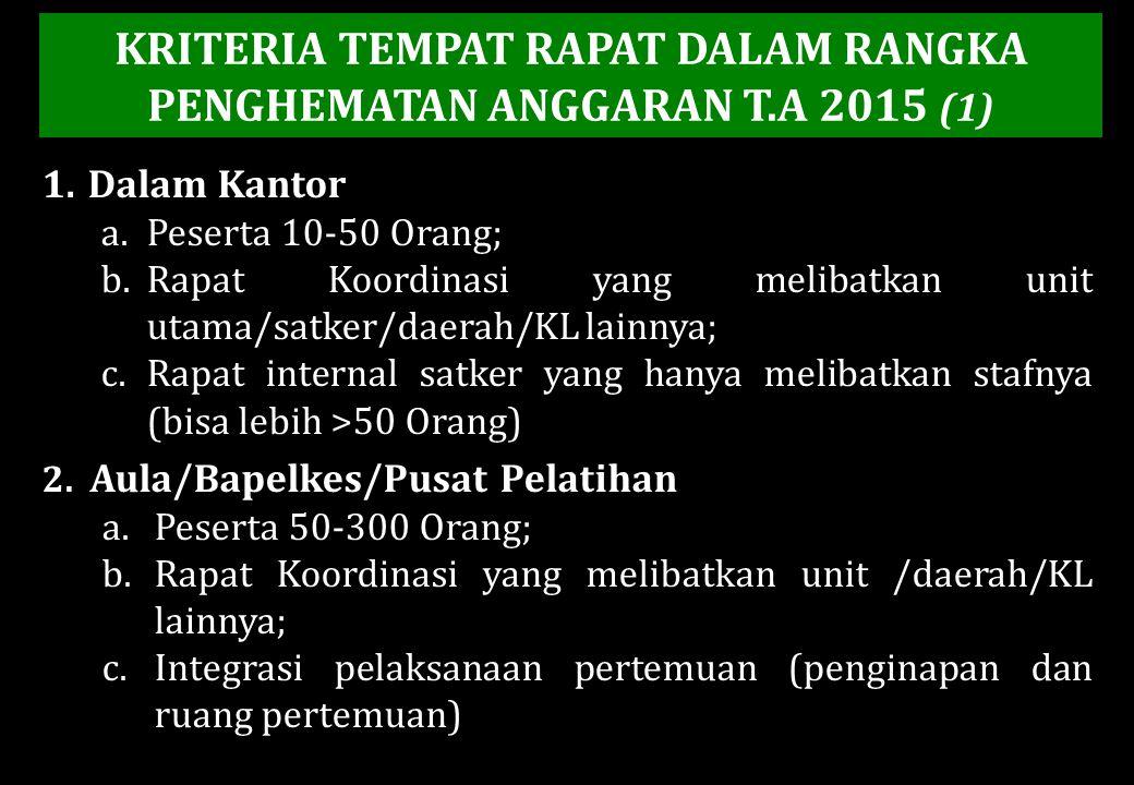 KRITERIA TEMPAT RAPAT DALAM RANGKA PENGHEMATAN ANGGARAN T.A 2015 (1) 1.Dalam Kantor a.Peserta 10-50 Orang; b.Rapat Koordinasi yang melibatkan unit uta