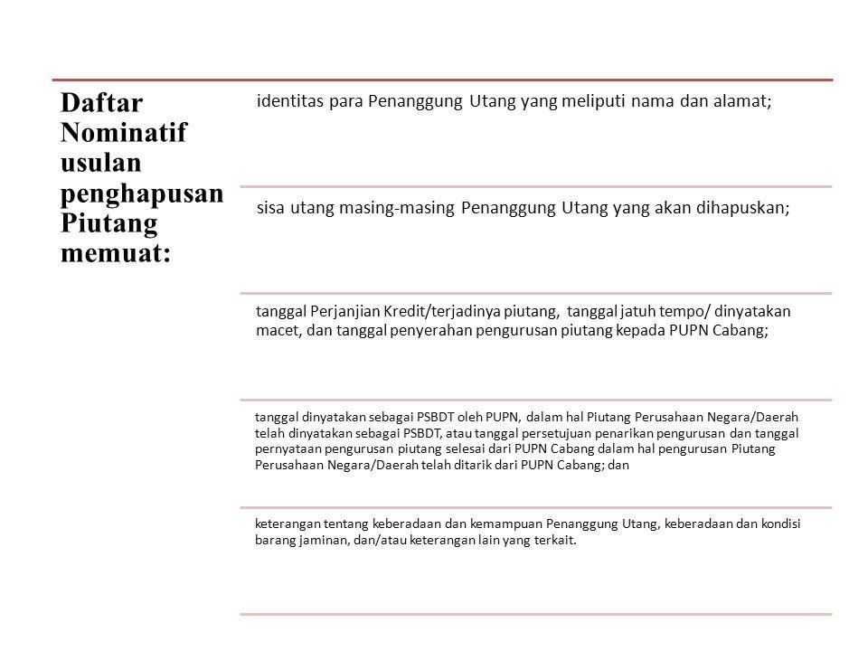 Daftar Nominatif usulan penghapusan Piutang memuat: identitas para Penanggung Utang yang meliputi nama dan alamat; sisa utang masing-masing Penanggung