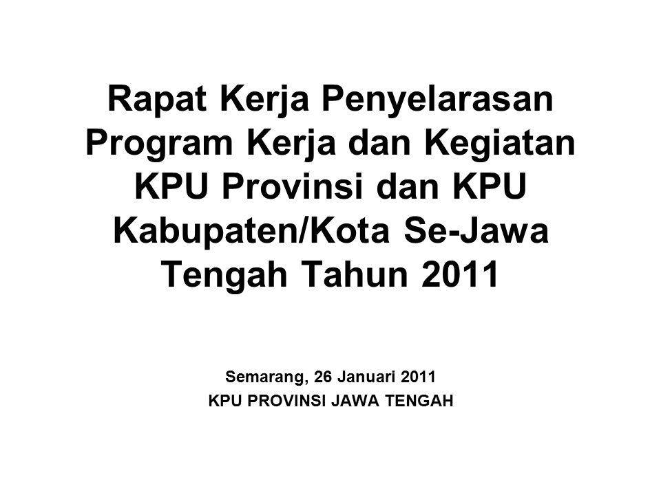 Rapat Kerja Penyelarasan Program Kerja dan Kegiatan KPU Provinsi dan KPU Kabupaten/Kota Se-Jawa Tengah Tahun 2011 Semarang, 26 Januari 2011 KPU PROVIN